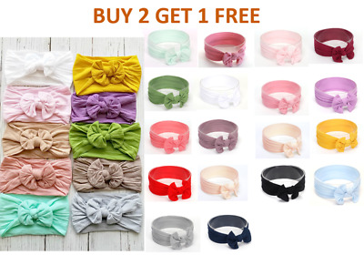 AU3.99 • Buy Baby Girl Toddler Bow Hairband Headband Turban Big Knot Head Soft Wrap Headbands