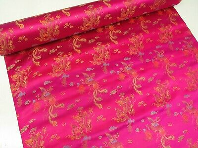 Cerise Pink Brocade Chinese Dragon Dress Fabric Embroidered Silk Satin Oriental  • 5.99£
