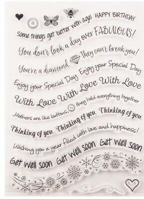 16 Sentiments/words/sayings Stamps/large Clear Stamp-wishes-thoughts/greetings • 5.50£
