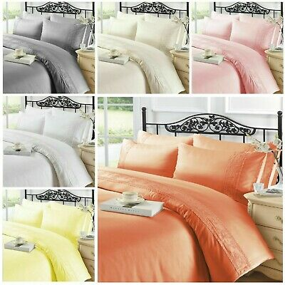 Charlotte Lace Luxury Duvet Cover Bedding Set Cream White Silver Double King • 17.99£