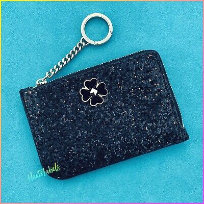 $ CDN32.11 • Buy KATE SPADE Rock Glitter Card Holder Wallet Key Case Black WLRU5803 / NWT