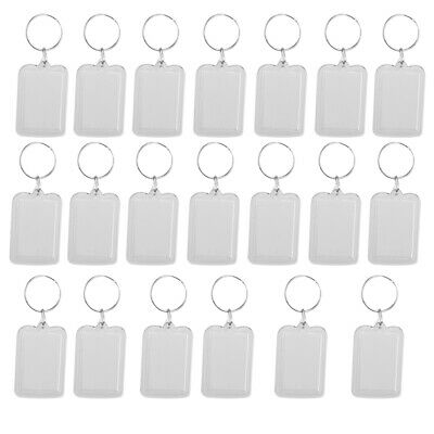 £6.40 • Buy 20x Oblong Blank Clear Acrylic Keyring Make Your Own Photo Keychain 38x25mm