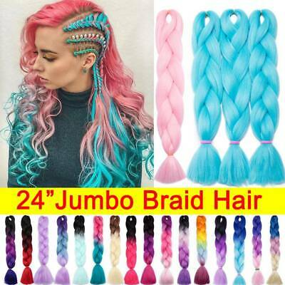 $4.92 • Buy 24'' Afro Twist Braids Ombre Kanekalon Jumbo Braiding Extension Hair As Human US