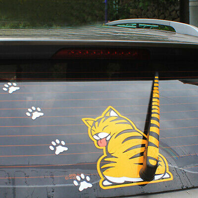 $ CDN3.59 • Buy Yellow Cat Paw Tail Car Sticker Windshield Rear Window Wiper Cartoon Decal Parts