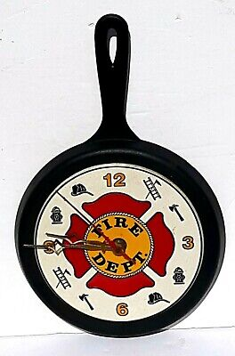 Fire Dept Frying Pan Wall Clock • 18.72£