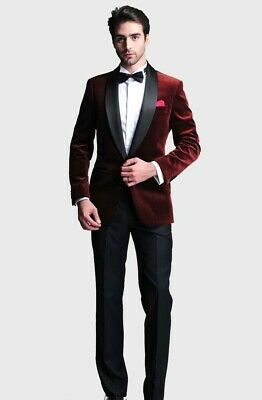 $ CDN112.67 • Buy Men Wine Red Velvet Suit Party Prom Dinner Shawl Lapel Groom Tuxedo Wedding Suit