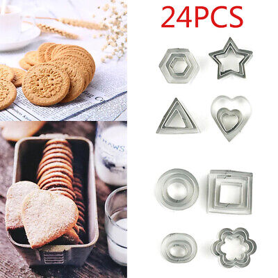 24pcs Mini Cookie Cutter Set Stainless Steel Baking Pastry Cutters Slicers Tools • 7.59£
