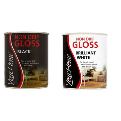 Your Home Non Drop Gloss Paint Black White For Interior/Exterior Wood/Metal • 9.95£