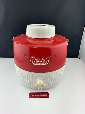 $26.99 • Buy Coleman 2 Gallon Red White Water Jug Cooler Vtg