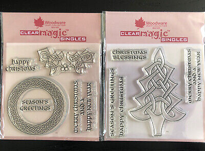 Woodware Clear Magic Celtic Christmas Stamps X 2 • 4.50£