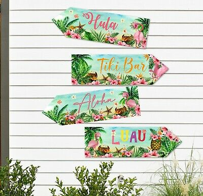 4 Tropical Hawaii Flamingo Aloha Luau Party Decoration Signs Arrows  • 4.20£
