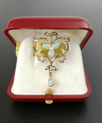 Antique Victorian / Edwardian 9ct / 9K Gold Seed Pearl & Natural Opal Pendant • 275£