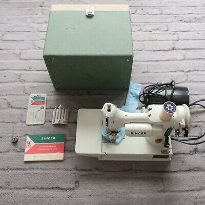 $1199.99 • Buy Vintage 1960s Singer 221 White Featherweight Portable Sewing Machine Case