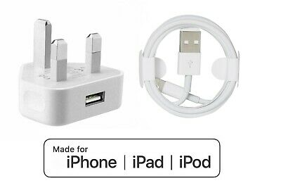 £5.75 • Buy 100%Genuine CE IPhone Charger UK Main Plug & USB Sync Cable For Apple IPad,iPhon