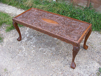 Antique Vintage Handcrafted Chinese Carved Dragons Coffee Table With Glass Top • 249.99£