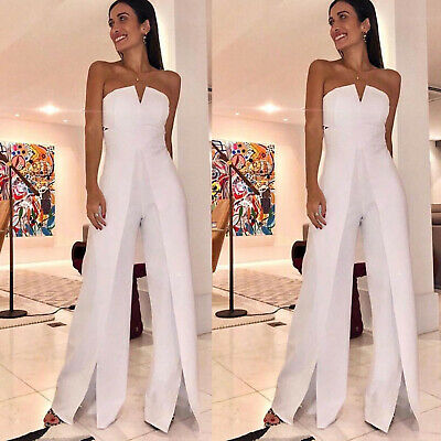 Womens Strapless Bandeau Wide Leg Jumpsuit Summer Formal Casual Playsuit Pants • 10.73£