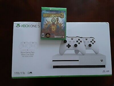 $425 • Buy NEW Microsoft Xbox One S 1TB Bundle 2 Controllers XBox Live And Borderlands 3