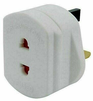 WHITE UK 1A Electric Shaver Plug Adaptor Oral-B Toothbrush 2 To 3-Pin Converter • 2.25£