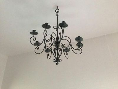 Black Wrought Iron Ceiling Candle Holder 8 Arms-Mint Condition  • 45£
