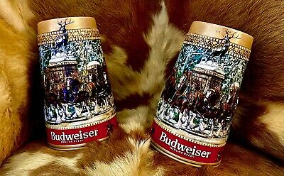 $ CDN62.65 • Buy Collectible 1987 And 198 Budweiser Holiday Stein Mug Clydsdale Horses