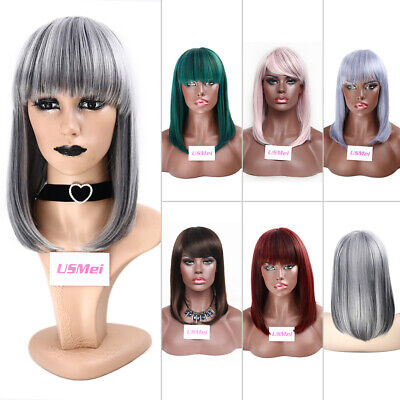 £13.89 • Buy Lady Natural Real Synthetic Cosplay Bob Wigs Ombre Cosplay Straight Medium Hair