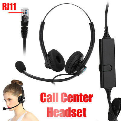 £12.21 • Buy RJ11 Corded Call Center Headset Telephone Phone Office Headphone With Microphone