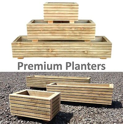 Premium Wooden Planter - Garden Flower Window Box Trough Herb Decking • 28.99£