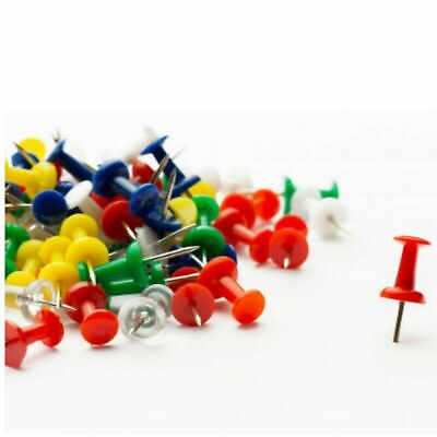 100 Push Pin Assorted Multi Coloured Drawing Pins Notice Office Cork Board • 1.89£