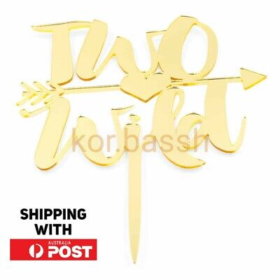 AU13.60 • Buy Two Wild Cake Topper 2 Year Acrylic Gold Mirror 2nd Birthday Party Decoration
