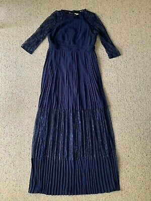 AU50 • Buy Bridesmaid Pleated Blue Navy Evening Maxi Dress With Lace Arms (Size 14)
