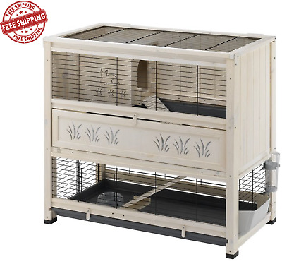 NEW Wooden Pine Indoor Rabbit Hutch Guinea Pig Cage 2 LEVEL TIER Chic Pet House  • 168.95£