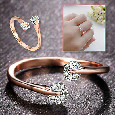 £3.49 • Buy 18K Rose Gold Plated 2 CZ Crystals Head Adjustable Engagement Eternity Open Ring