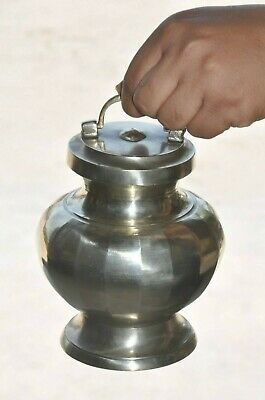 £34.79 • Buy Old Brass Handcrafted Fine Nickel Plated Unique Shape Holy Water Pot