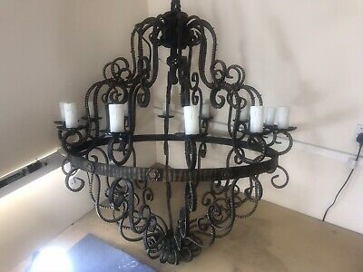 Large Wrought Iron Chandelier- Hand Forged - 12 Electric Candle Effect Lamps • 295£