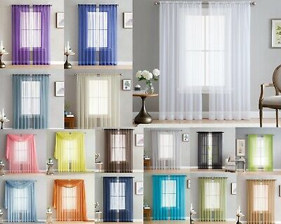$6.99 • Buy Addison Sheer Voile Window Curtain Solid Panels Rod Pocket - Set Of 2