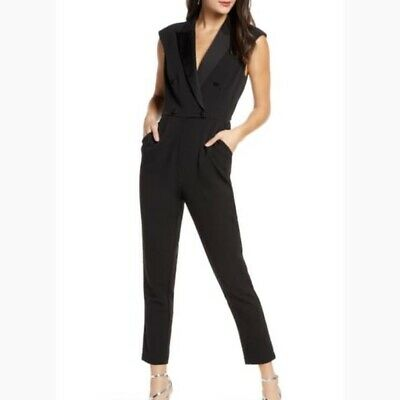 $39 • Buy Harlyn Black Double Breasted Tuxedo Jumpsuit Party Cocktail Sleeveless Large