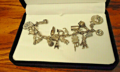 $ CDN89 • Buy Vintage Lot Of Sterling Silver Assorted Charm Bracelet X18 Charms 54 G Grams