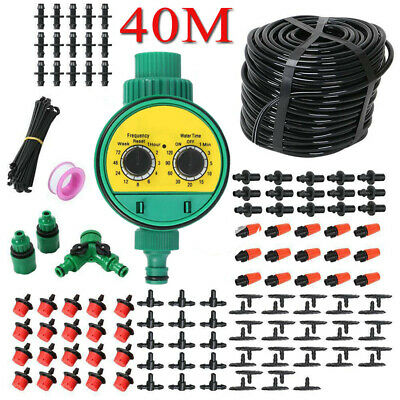 40M Automatic Drip Irrigation System Kit Plant +Timer Self Watering Garden Hose • 19.69£