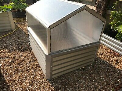 Raised Metal Garden Bed With Greenhouse Top 100cm X 120cm X 100cm  • 69.95£