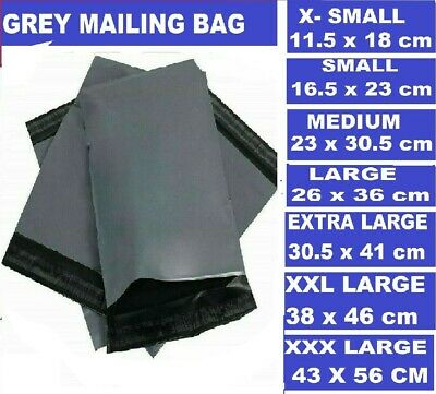 GREY Postal Packaging Bags Plastic Parcel Mailing Packing Envelopes Polythene • 2.95£