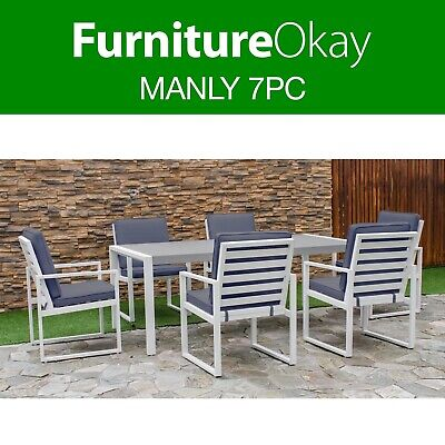 AU1449 • Buy Manly 7pc Aluminium Outdoor Dining Setting Patio Set Table Chairs Furniture