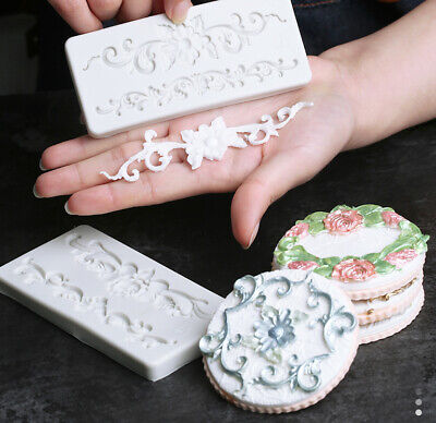 Vintage Relief Lace Flower Silicone Fondant Mold Cake Decor Border Baking Mould • 2.99£