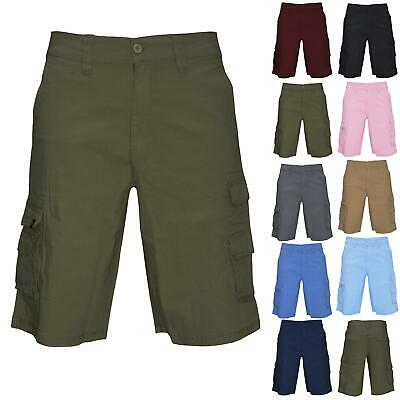 Airwalk Mens Cargo Plain Shorts Zipper Up Multi Pockets Combat Casual 3/4 Pants • 7.49£