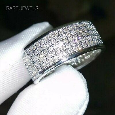 $15.24 • Buy Mens Womens Micro Paved Iced Out Band CZ Crystals Hip Hop 925 Silver Plated Ring