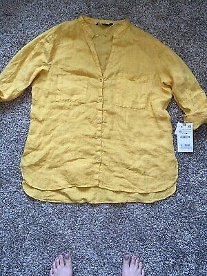 $26.28 • Buy NWT Zara Woman's XL Yellow Button Down With Chest Pockets
