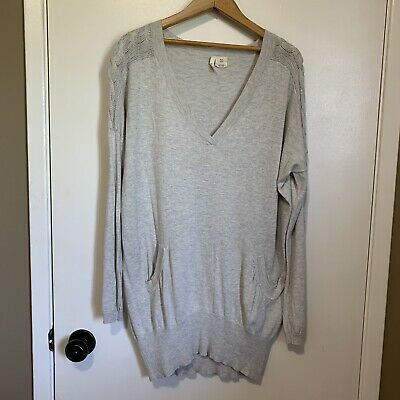 $ CDN28 • Buy Anthropologie Covet Sweater XS Knit Thin Pockets V Neck Oversized Grey Tunic
