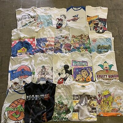 $ CDN271.54 • Buy Vintage Wholesale T Shirt 20 Lot 00s Bundle Cartoons Disney Nickelodeon Marvel