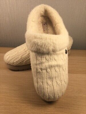 Skechers Bobs Cream Mule Slippers Size 6 Slip On Cosy Hard Sole House Shoe • 30£
