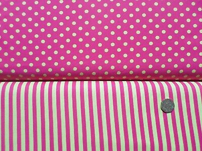 Clown Stripe, Dumb Dot Fabric Pink/Yellow/Green Stripe Or Spot By Michael Miller • 1.95£