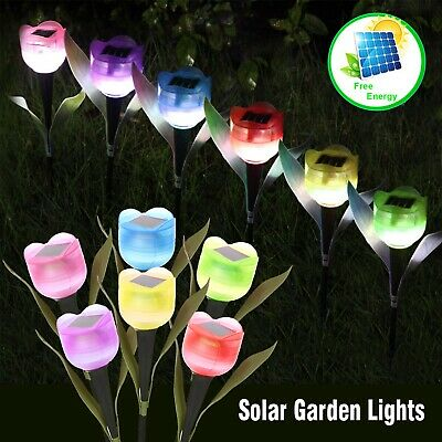 6X Led Solar Powered Lights Stake Patio Pathway Outdoor Garden Tulip Flower Lamp • 8.99£
